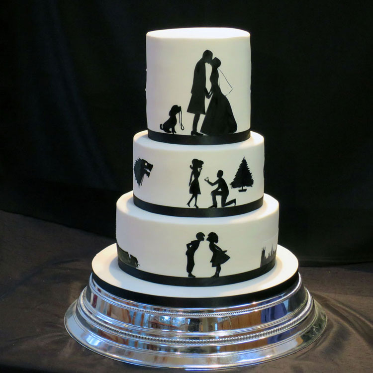 The Story of Our Lives - Silhouette Wedding Cake