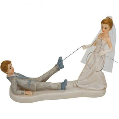 Bride Dragging her Groom Wedding Cake Topper