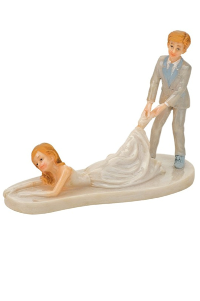 Groom Dragging Bride Cake Topper