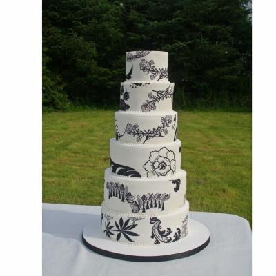 5 tier Monochrome Print Wedding Cake
