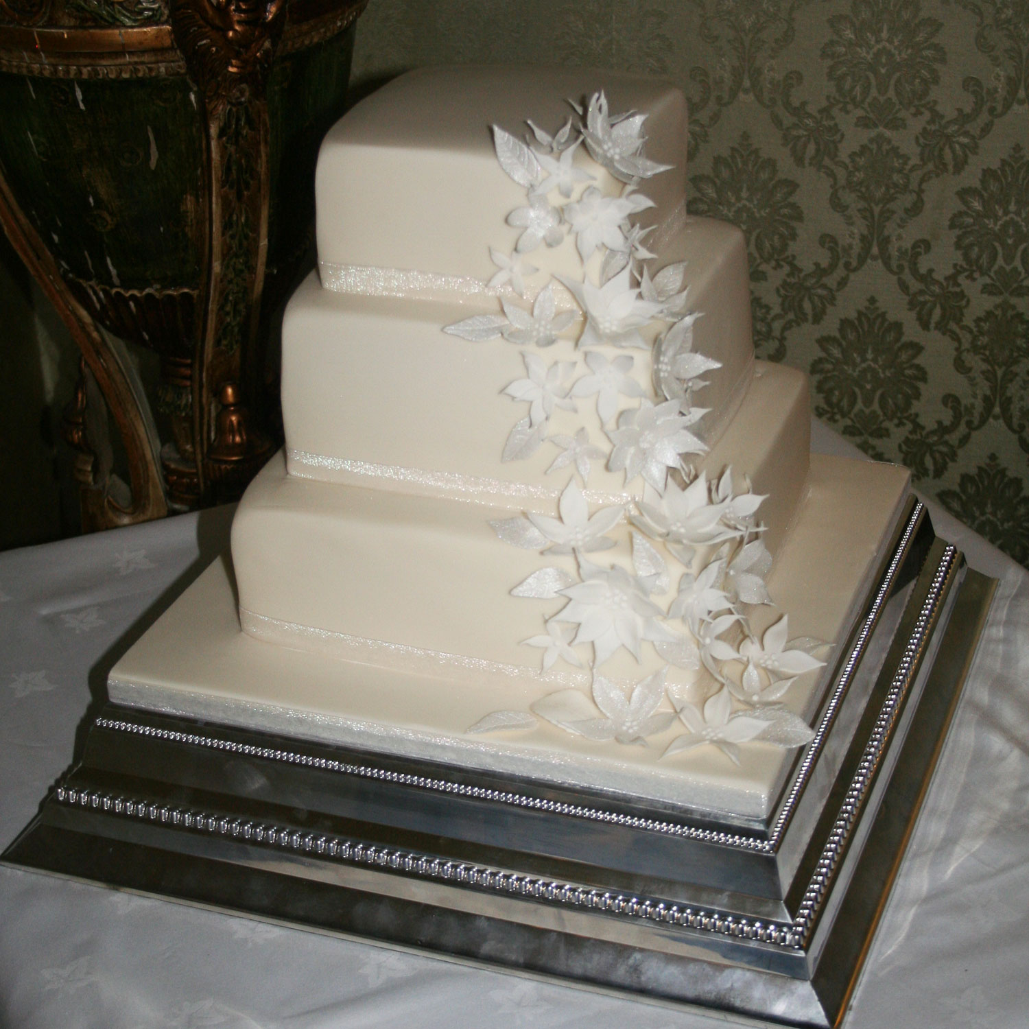 Champagne Iced Three Tier Wedding Cake