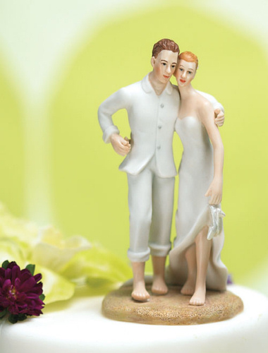 Bride and Groom on the Beach Wedding Cake Topper