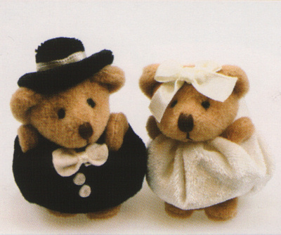 Plush Teddies Bride And Groom Teddy Bear Wedding Cake Toppers