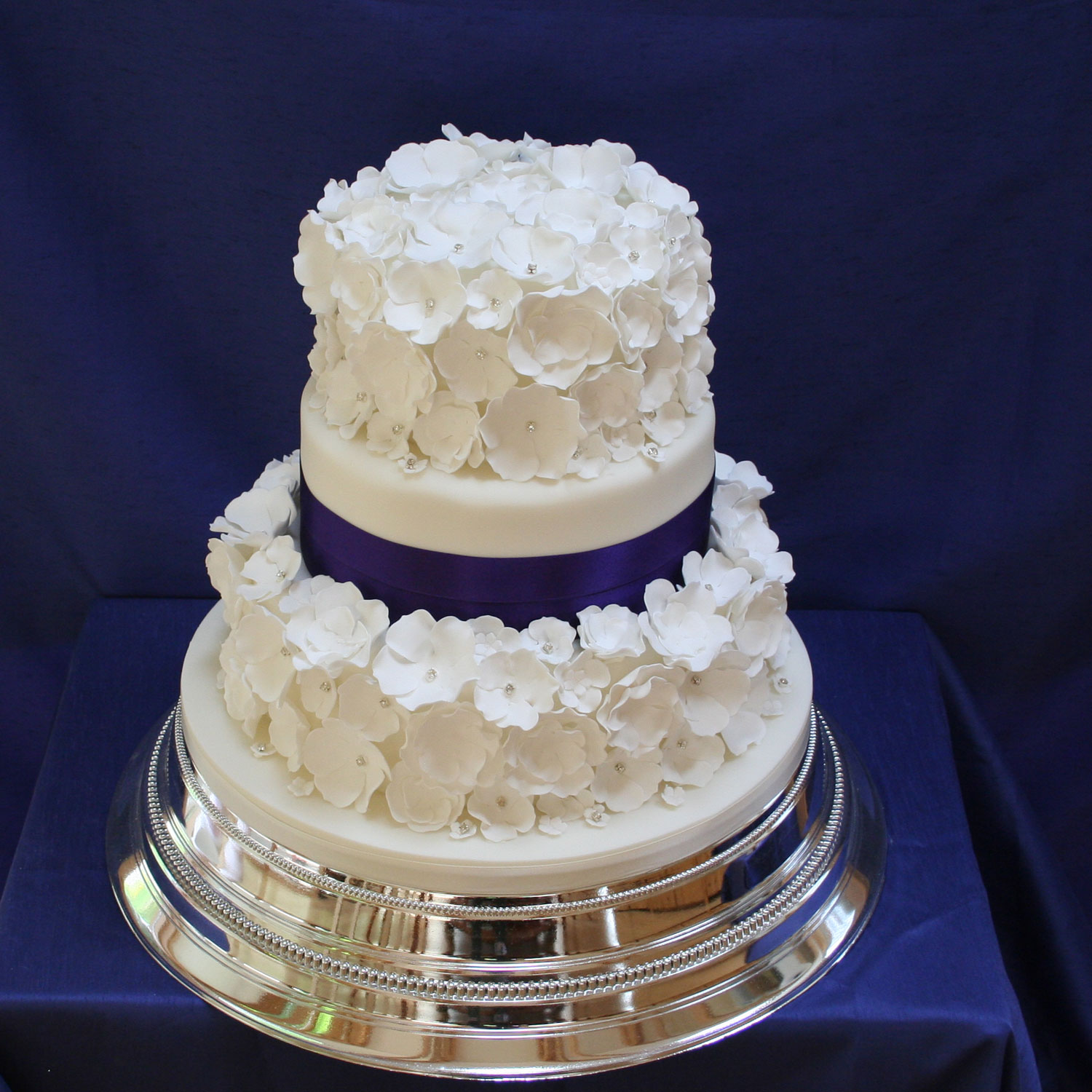 Diamante Blossom Wedding Cake