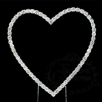 Diamante Heart Wedding Cake Topper