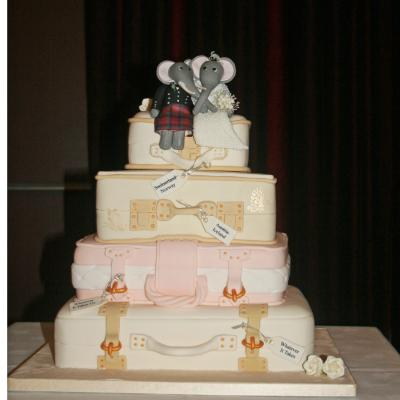 Elephant Honeymoon Trunks Wedding Cake