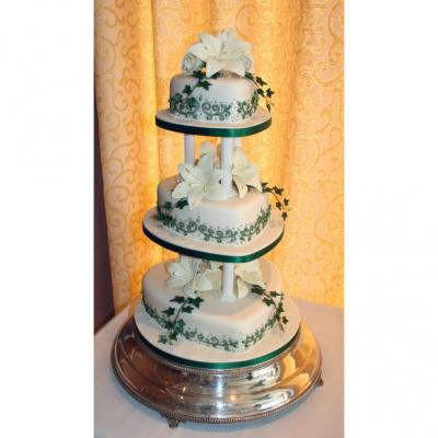 Three Tier Heart Shaped Wedding Cake