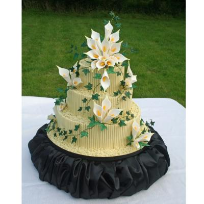 Chocolate Cigarillo Wedding Cake with Sugar Calla Lilies
