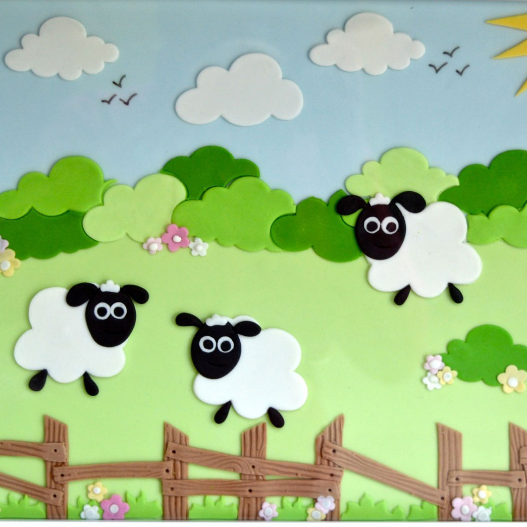 Sheep and Clouds made with sugarcraft cutters