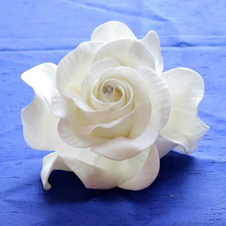 Giant Diamante White Sugar Rose