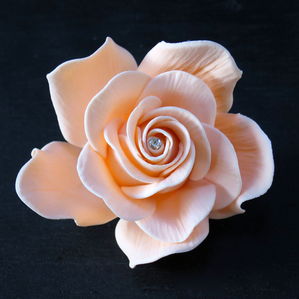 Giant Peach Diamante Sugar Rose