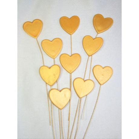 Gold Hearts on Wire