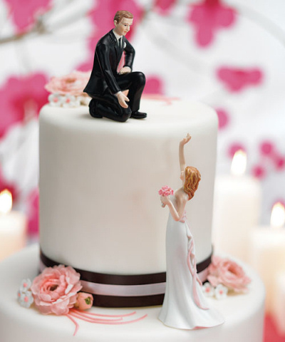 Reaching Bride and Helpful Groom Cake Toppers