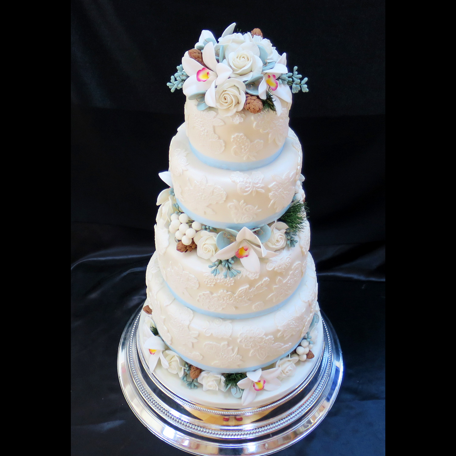 Floral wedding cakes floral wedding cakes and cakes with sugar roses lace covered wedding cake izmirmasajfo