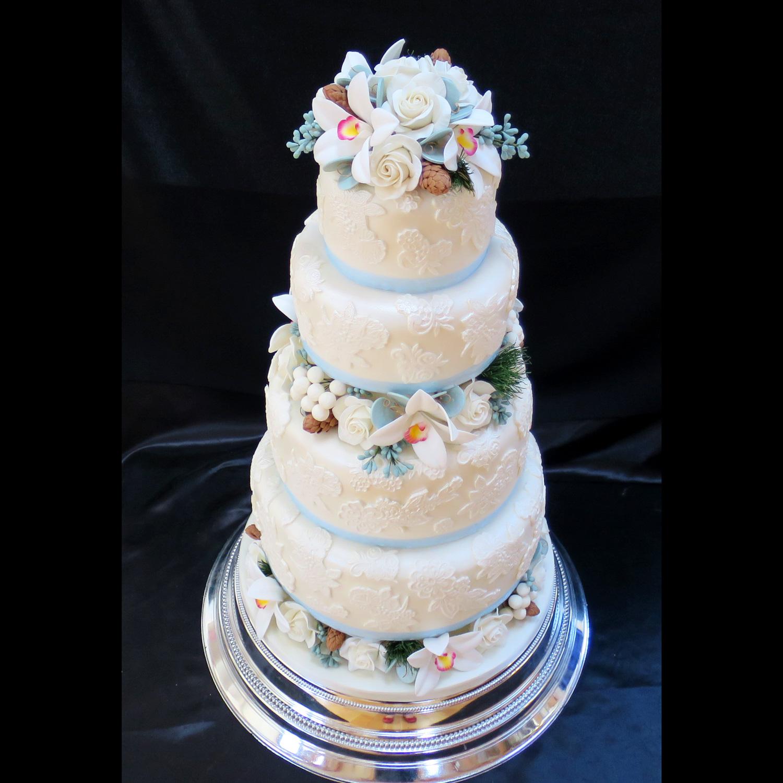 Lace Covered Wedding Cake