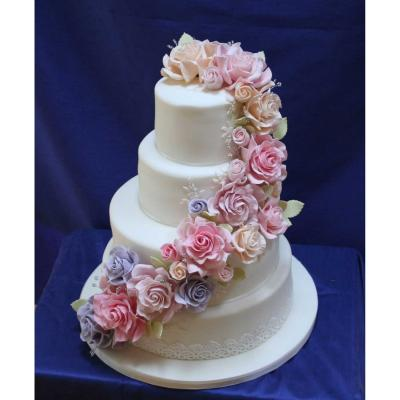 Joy Vintage Wedding Cake Decorated With Handcrafted Sugar