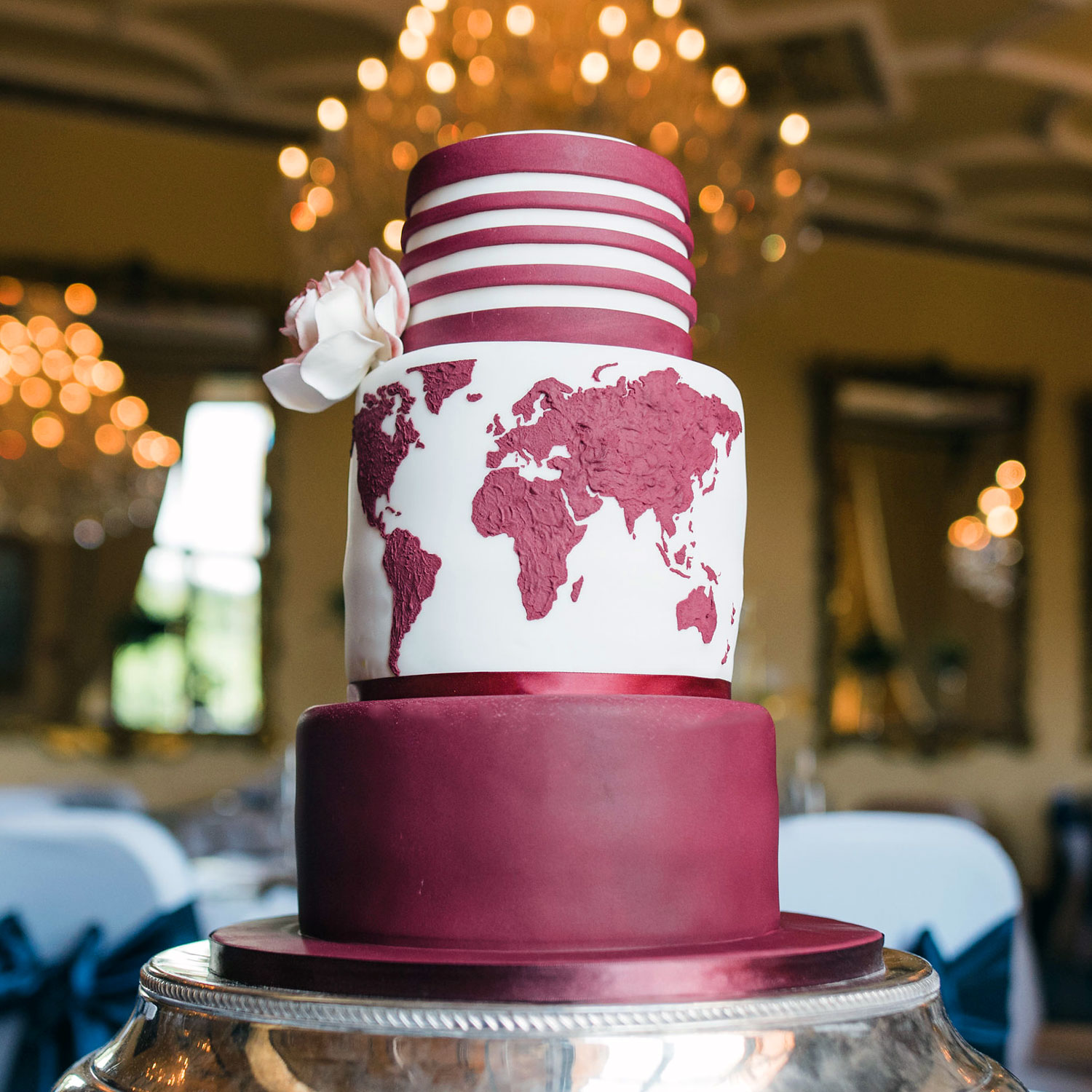 Map of Love Wedding Cake in Burgundy