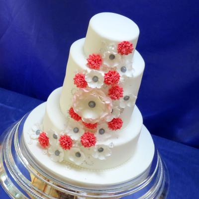 Wedding Cake with Sugar Carnations and Blossoms