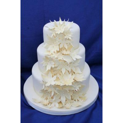 Wedding Cake with Contemporary Fantasy Sugar Flowers
