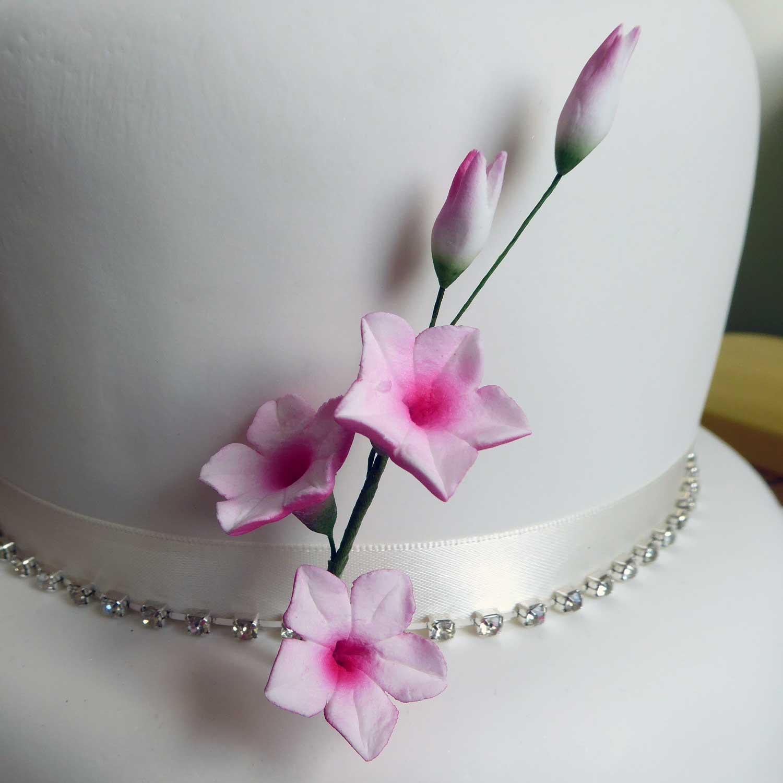 Sugar Flower Spray Decoration Wedding Cake Topper Pink Rubrum Lily Medium