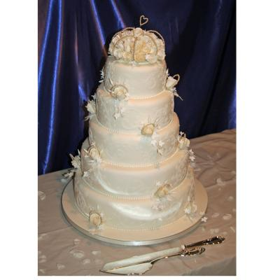 Pearl Five Tier Wedding Cake