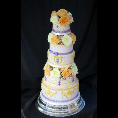 Five Tier Lilac and Gold themed Wedding Cake