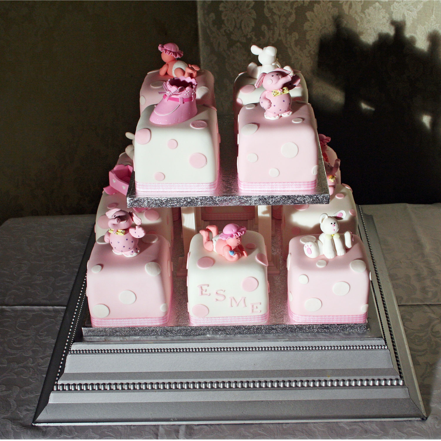 pink baby blocks new baby cakes delivered to edinburgh glasgow and