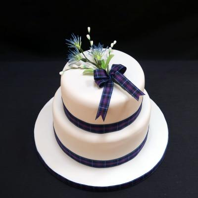 Two Tier Scottish Thistle Wedding Cakes - Gretna