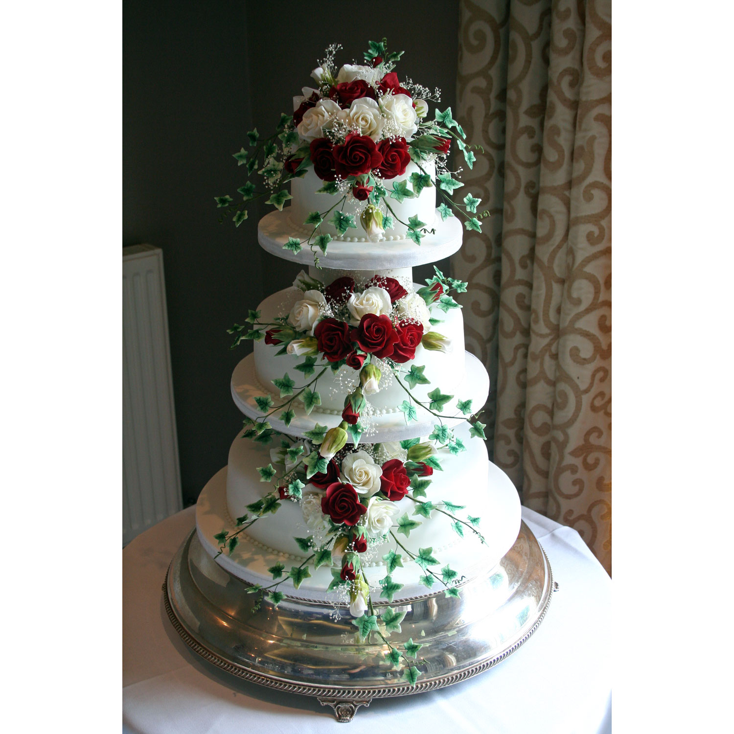 Three tier Wedding Cake with Sugar Roses