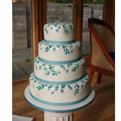 Embossed Cake with Teal Theme