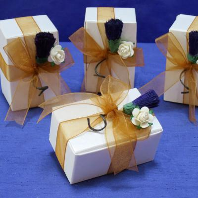 Thistle & Rose Wedding Favour with Gold Sheer Ribbon