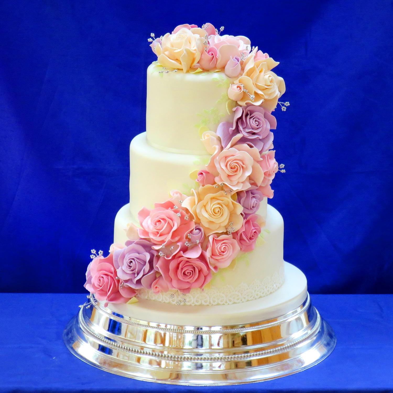 Wedding Cake Sugar Flowers: Uby Pre Wedding Cake Decorated With Cascading Sugar Roses