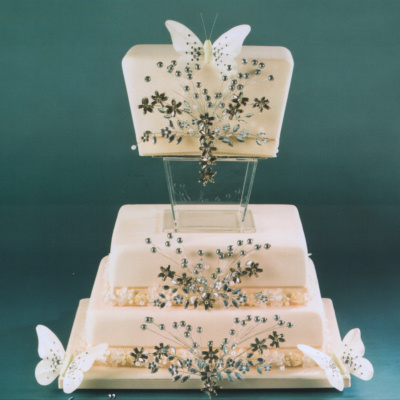 Vintage Wedding Cake Decorations Uk : Mirrored Flower Spray Mirrored Flower Spray Wedding Cake ...