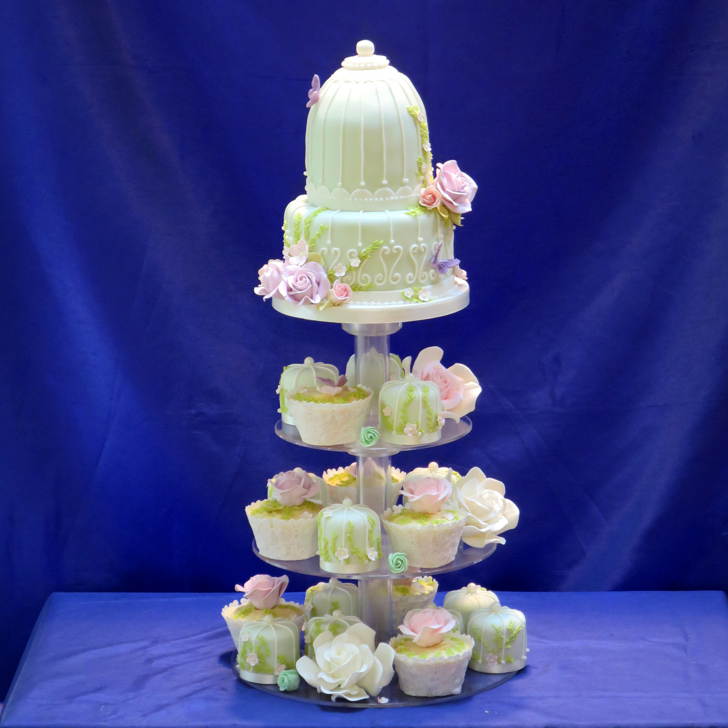 Birdcage Wedding Cake with Individual Mini Cakes
