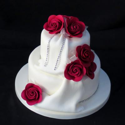 Burgundy Rose Diamante Drape Wedding Cake