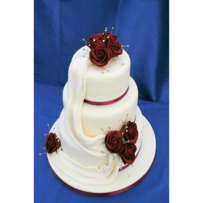Burgundy Diamante Drape Wedding Cake Wedding Cake With Flowing Icing
