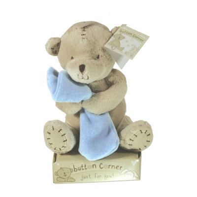 Button Bear with a Blue Blanket