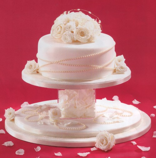 Cake With Cube Separator Decorator Real Dried Roses