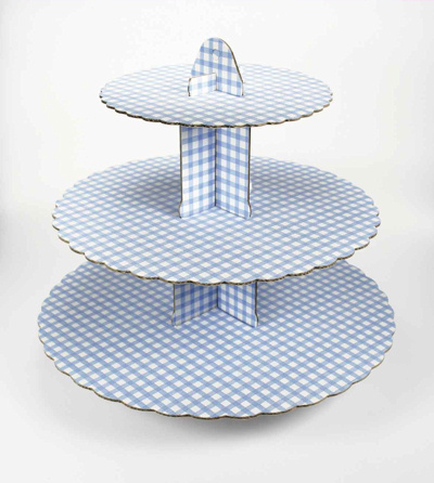 Blue Gingham Cup Cake Stand