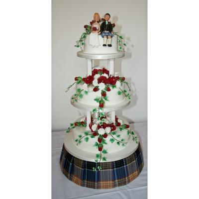 Wedding Cake with Tartan Cake Stand