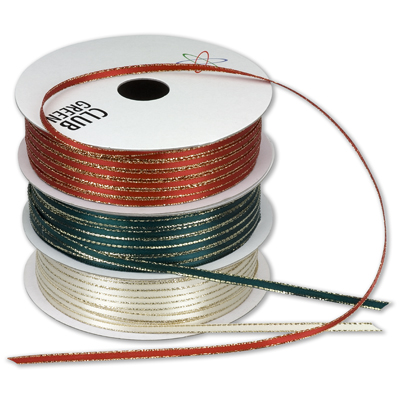 3mm lurex edge satin ribbon