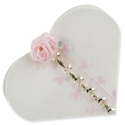 White Silk Heart Wedding Favour