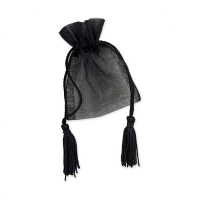 Black Organza Favour Bags with Tassells