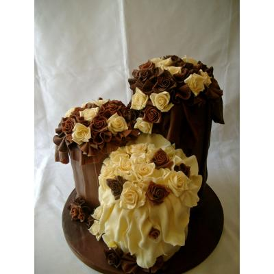 Tall cakes smothered in Belgian Chocolate Roses