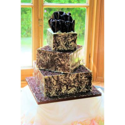Wedding Cake with Decorated Belgian Chocolate Panels