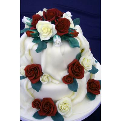 Sugarcraft Roses in Velvet Red and Ivory