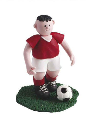 Claydough Footballer in a red Strip