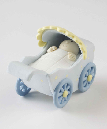 Blue Claydough Pram Cak Decoration