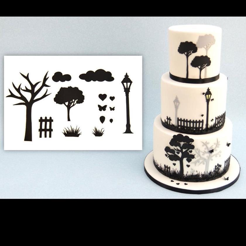 Wedding silhouette set silhouette wedding cake cutters wedding cake countryside silhouette cutter set junglespirit Gallery