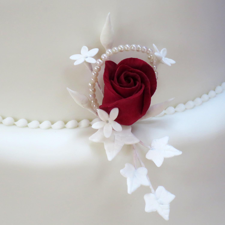 Burgundy Cultured Pearl Wedding Cake Classic Five Tier